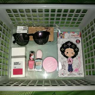 Cotton On Shades, Hand Mirror From Korea, Nail Polish, Innisfree Powder And Scent Swatch Perfume Bundle