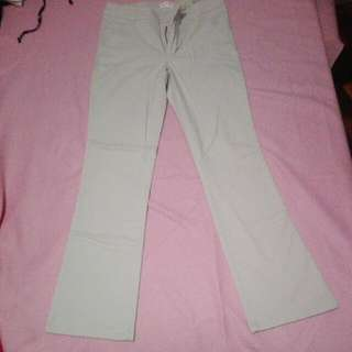 beige pants with adjustable button