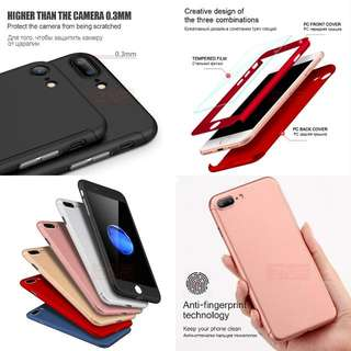 360 Degree Full Coverage Case For Apple iPhone 7 7 Plus 6 6S With Glass Film