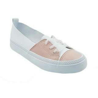 Slip On Lace Sneakers - White/Pink