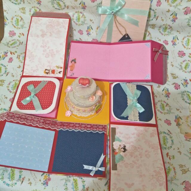 手工✨禮物盒爆炸蛋糕卡片💕