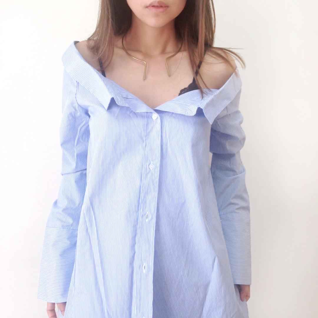 性感露肩領口平口藍白條紋襯衫