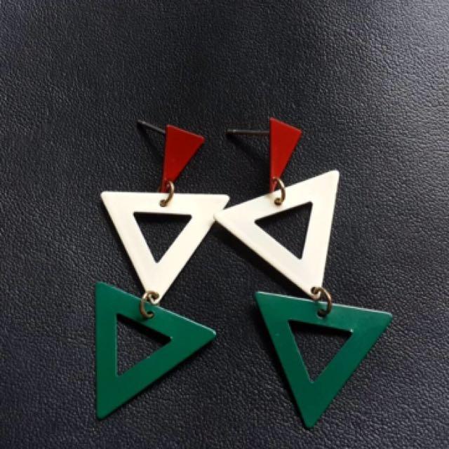 三角垂墜耳環