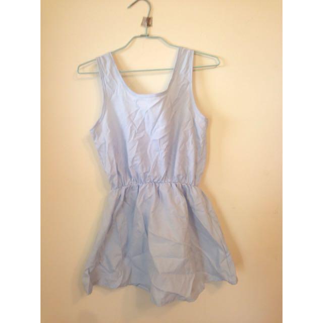 水藍素面小洋裝