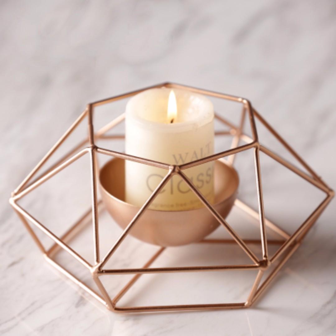 極簡現代幾何玫瑰金燭台+蠟燭