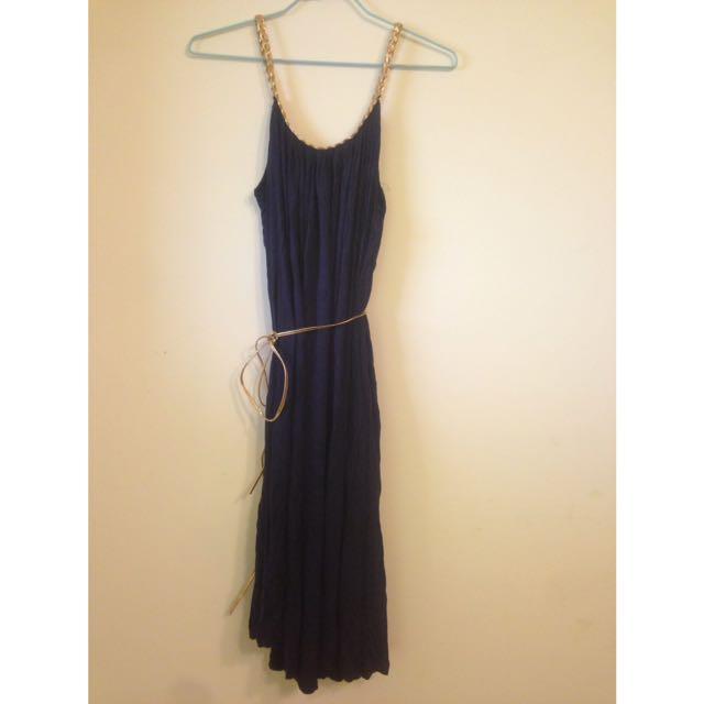 深藍女神氣息細肩帶長洋裝