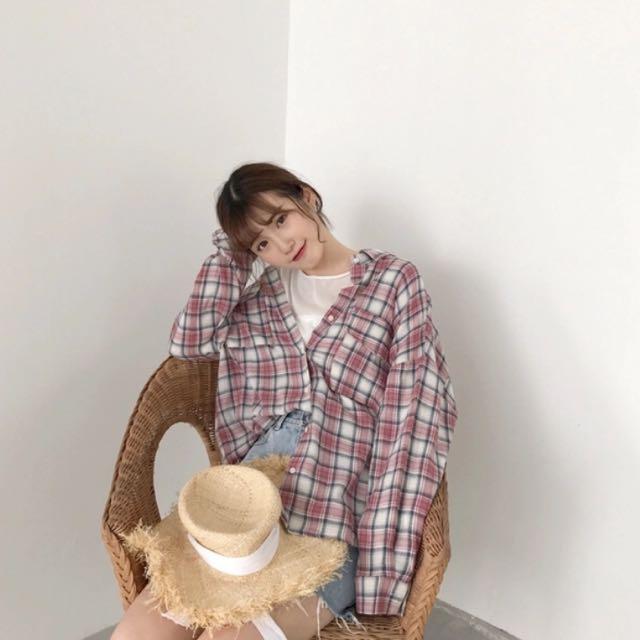 ☁️韓風格子襯衫外套☁️