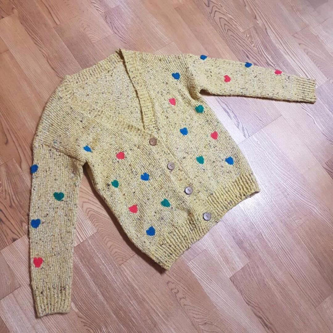 日本帶回 愛心芥末黃針織外套