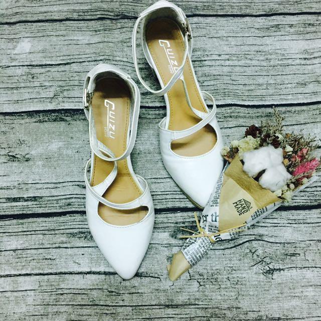 交叉綁帶氣質低跟鞋 粗跟鞋 尖頭鞋