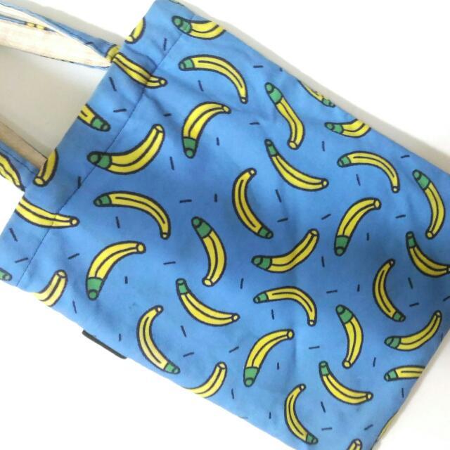 香蕉 滿版 帆布包 帆布袋 泰國 藍色 Banana 包 袋子 Zombie
