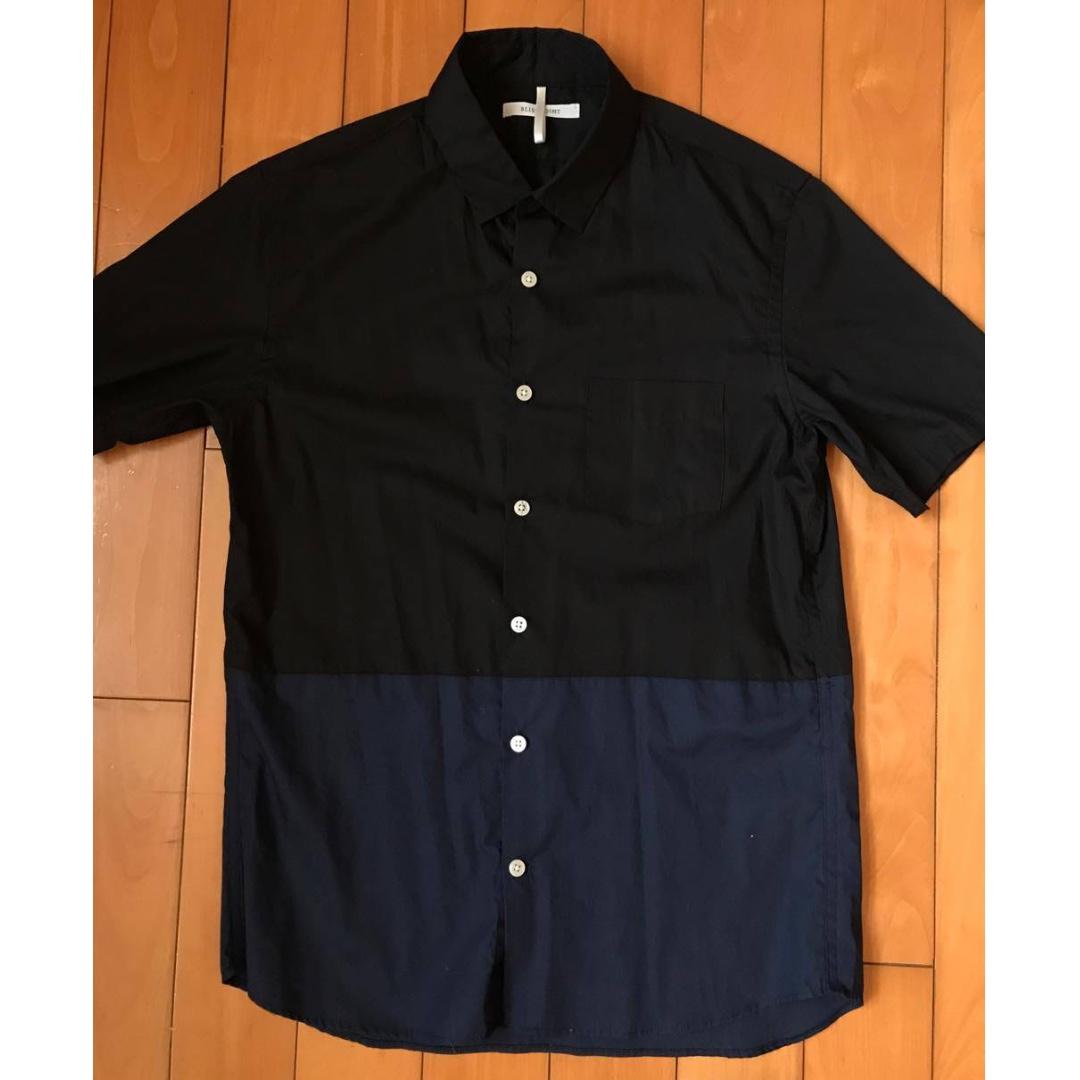 全新 日本 BLISS POINT 黑藍拼接襯衫