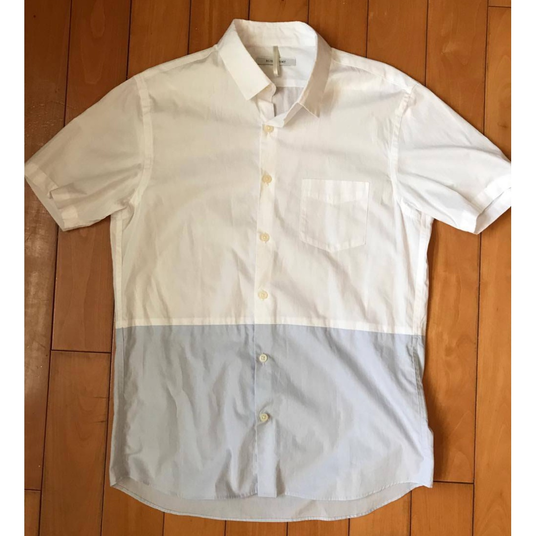 全新 日本 BLISS POINT 白藍拼接襯衫