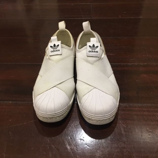 Adidas White Superstar Slip On