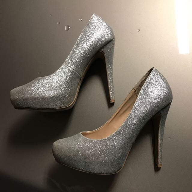 Authentic Dorothy Perkins Silver Glitter Platform Heels