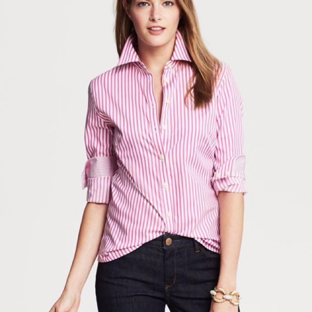 BANANA REPUBLIC Pink Striped Dress Shirt (NEW)