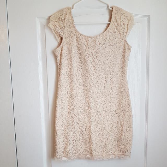 Beige Lace Summer Dress