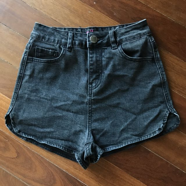 Black Denim High Waisted Short Shorts