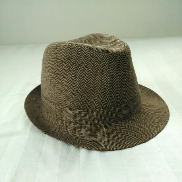 Brown Fedora Hat / Topi Coklat