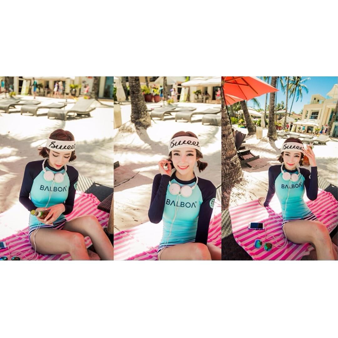 Candy Girl╭。全新現貨。潛水浮潛防晒長袖顯瘦衝浪二件式泳衣套裝