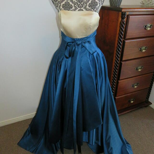 Champagne And Blue Formal Dress