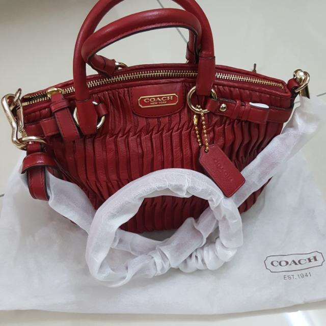 114cde86a9 100% COACH Madison Gathered Leather Mini Sophia Satchel, Luxury, Bags &  Wallets on Carousell