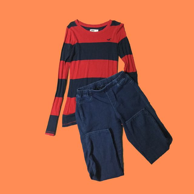 Combo Hollister Striped Long Sleeves And Uniqlo Pants