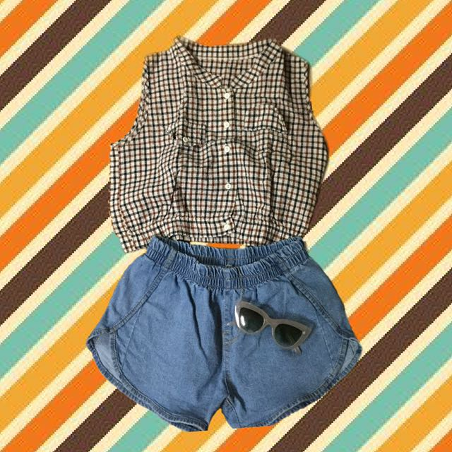 Combo Plaid Crop Top And Denim shorts