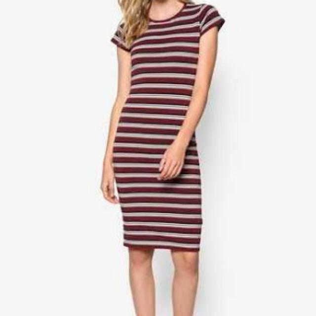 Cotton On Short Sleeve Knit Mini Andrea Midi Dress In Charcoal Marle/White/Zinfandel Brandy Stripe