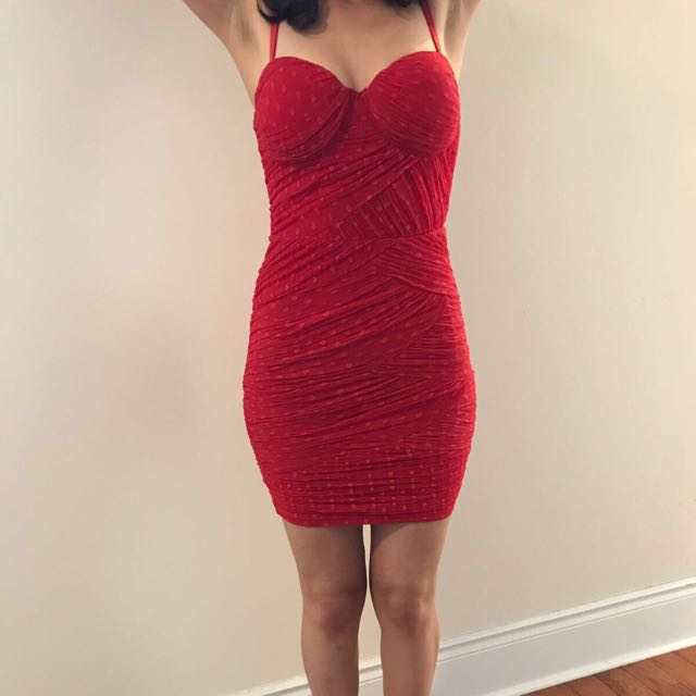 Feminine And Sexy Guess Red Dress