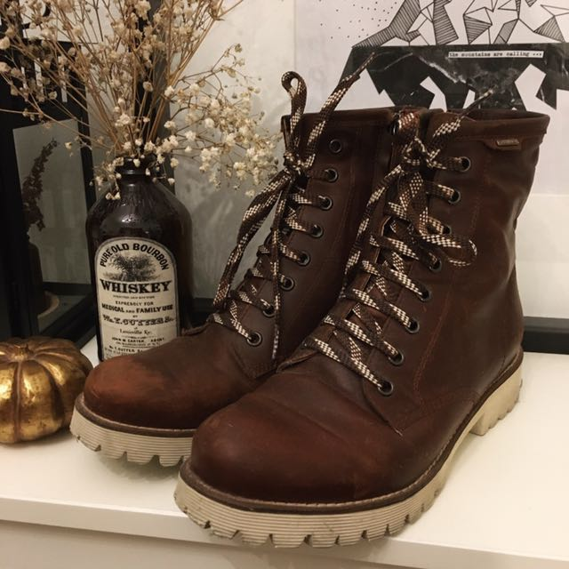 GEOX Brown Italian Leather Combat Boots