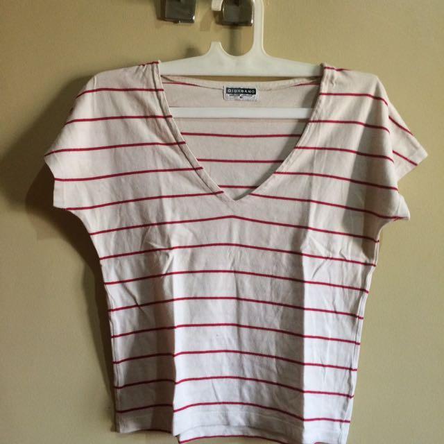 Giordano Stripes Crop Shirt