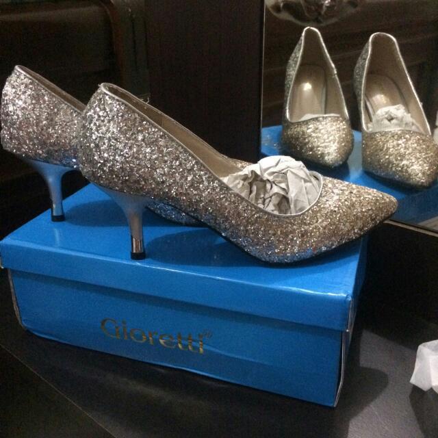 Glitter Silver High Heels
