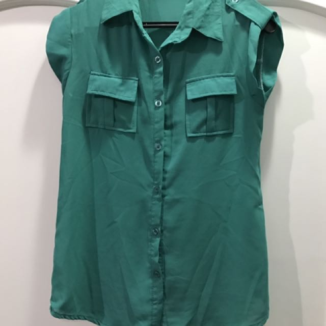 Green Collared Sleeveless