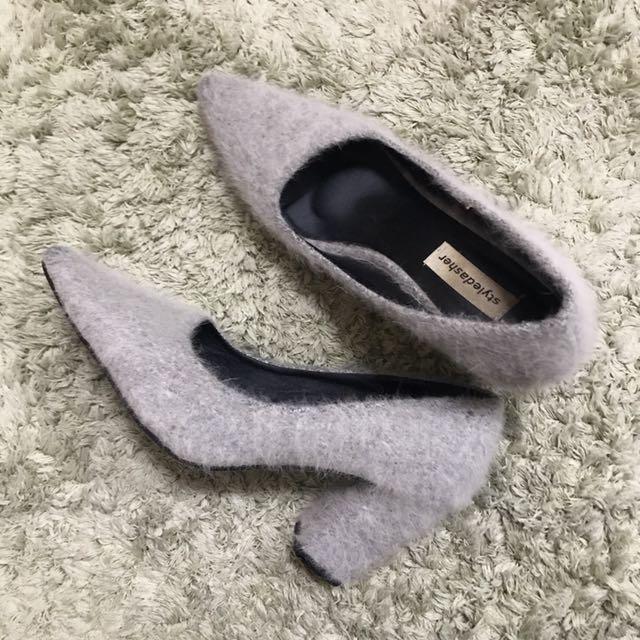 Grey Furry Heels