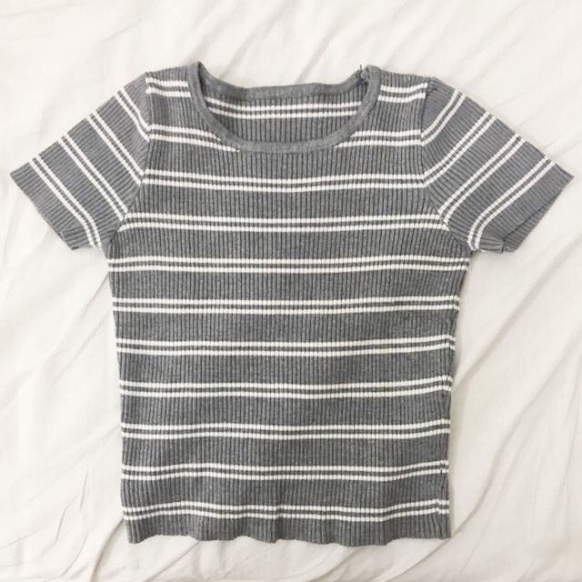 GREY/WHITE RIBBED TOP
