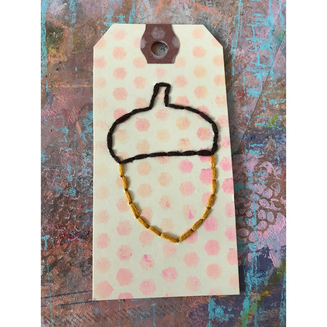 Handstitched acorn tag + other designs upon request
