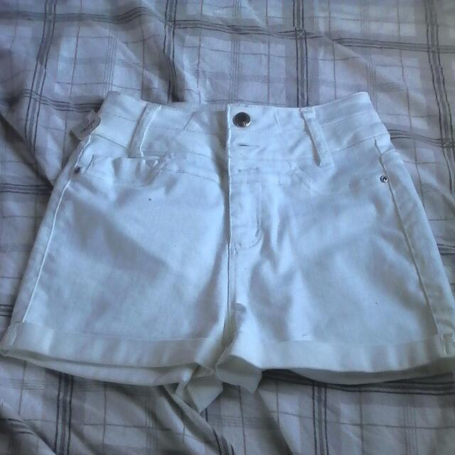 High Rise White Denmin Shorts