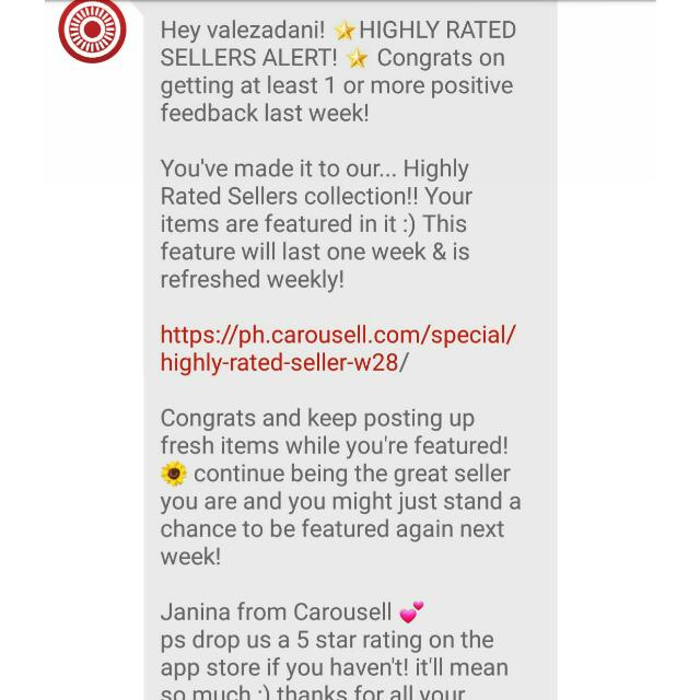 HIGHLY RATED SELLER 💖 THANK YOU CAROUSELL