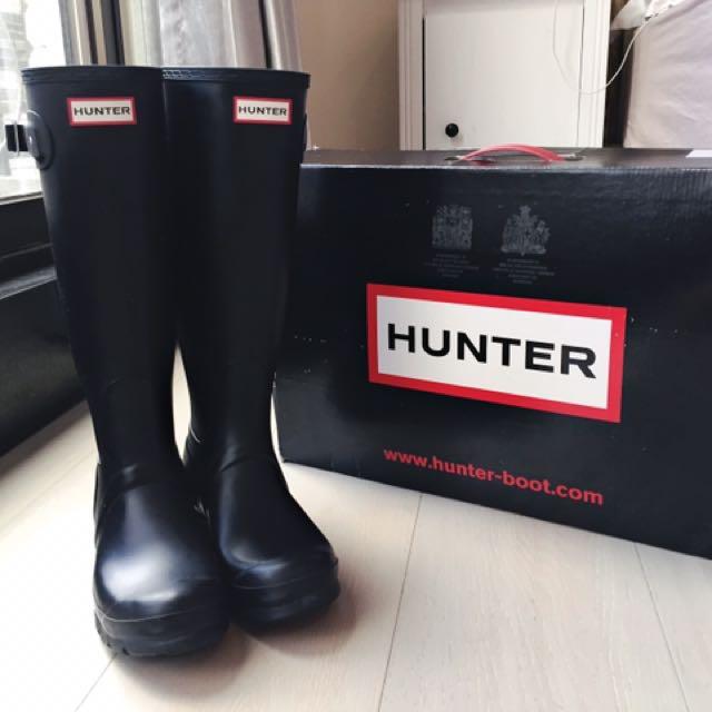 Hunter boots uk5 eu38 黑色霧面 長筒雨鞋