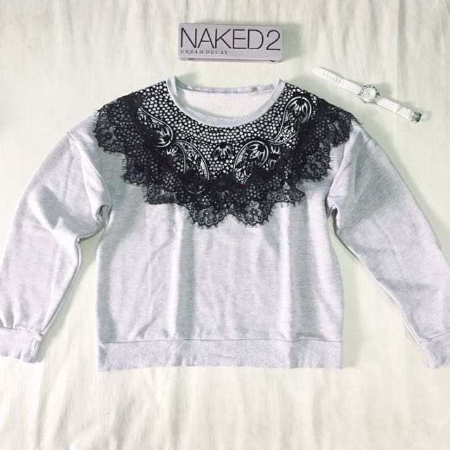 Korean Grey Lace Pullover