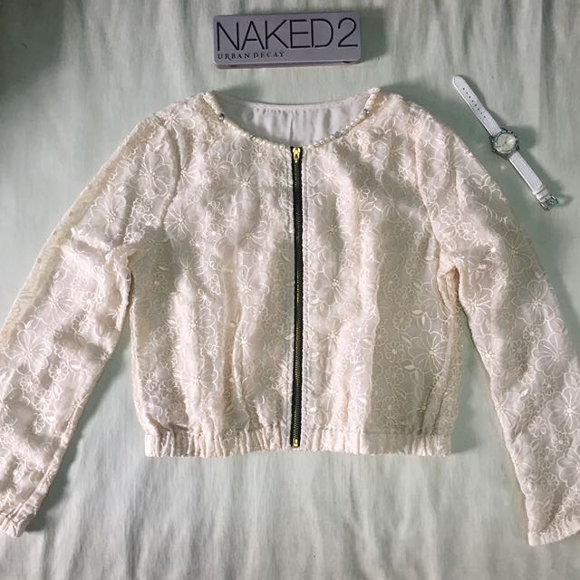 Korean Pearl and Lace Blazer