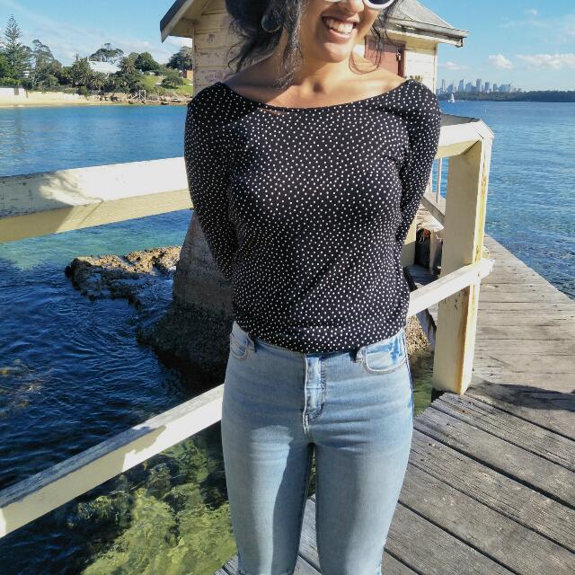 Zara Long sleeve Polka Dot Top