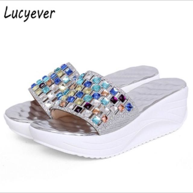 d420fab95 Lucyever 2017 New Summer Colorful Rhinestone Slipper Wedge Platform ...