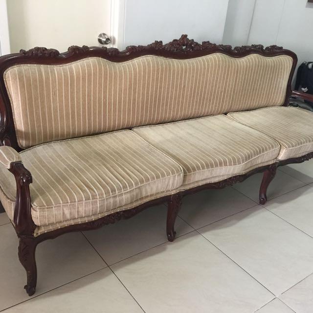 Mahogany Three To Four Seater Sofa
