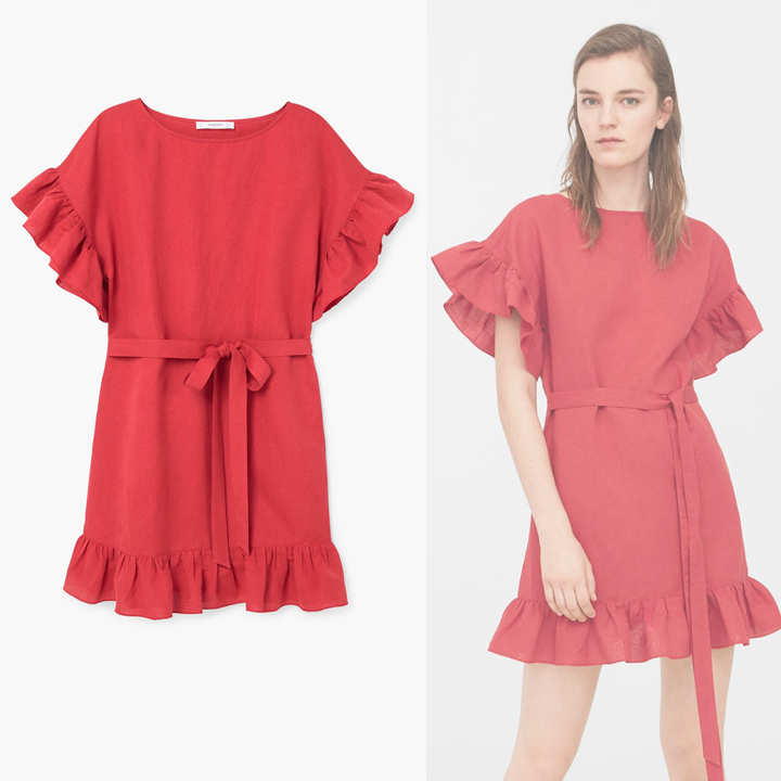 d3bfb3db44 MANGO RED RUFFLE LINEN DRESS