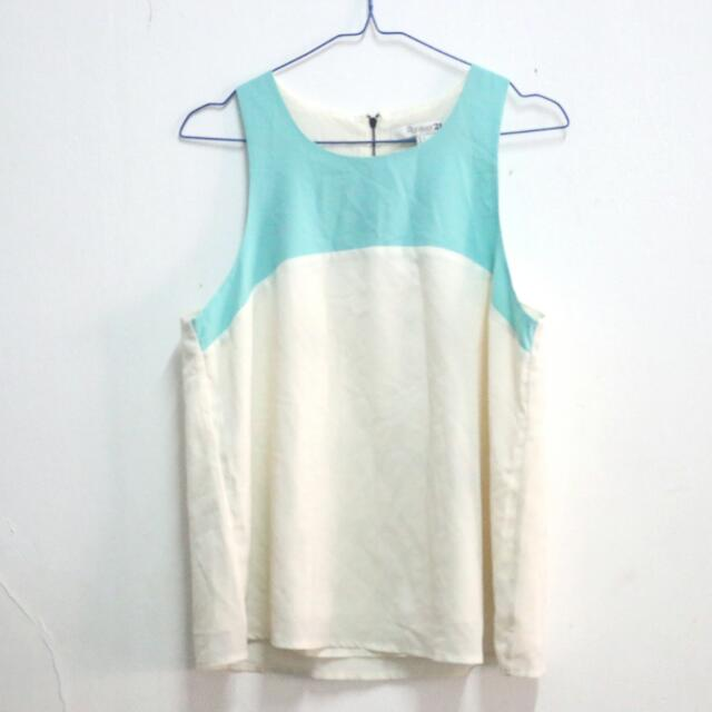 Mint Blue Broken White Top