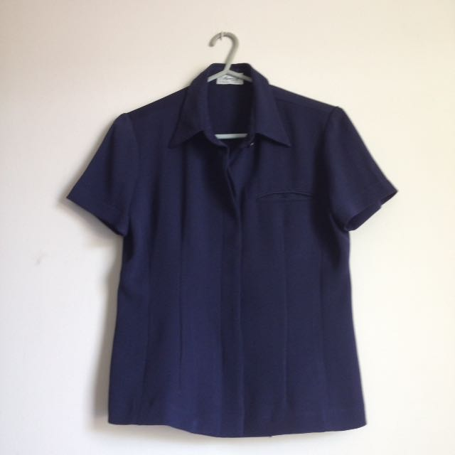 Navy Blue Button Down Blouse