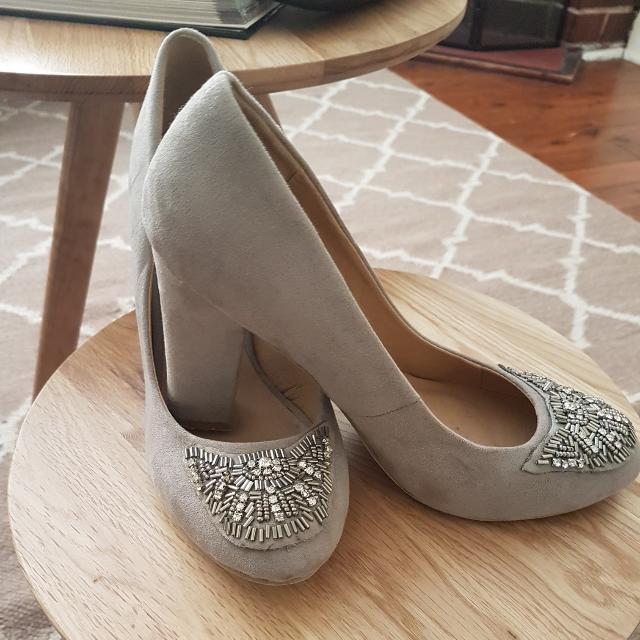 Novo Mocha Suade Front Beaded Heels