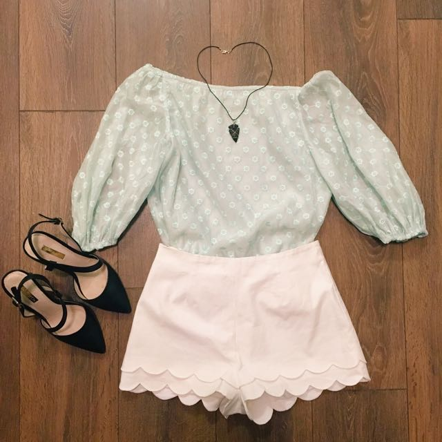 **PRICE DROP** Off-the-shoulder Light Mint Lace Top