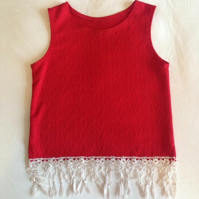 Red Boho Sleeveless Top With Lace Fringe